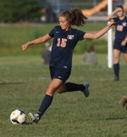 Galion's Adriana Zeger kicks the ball down the field during a home game against Highland.