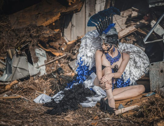Ingleside model Lindsay Guzzi dressed as an angel to depict the beauty and strength the surrounding communities felt after Hurricane Harvey devastated Aransas County.