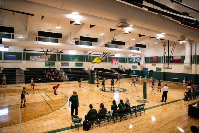 Taft competes in a game in their newly rebuilt gymnasium on Thursday, Aug. 23, 2018. Their gym was heavily damaged during Hurricane Harvey and have played and practiced on the road in 2017.