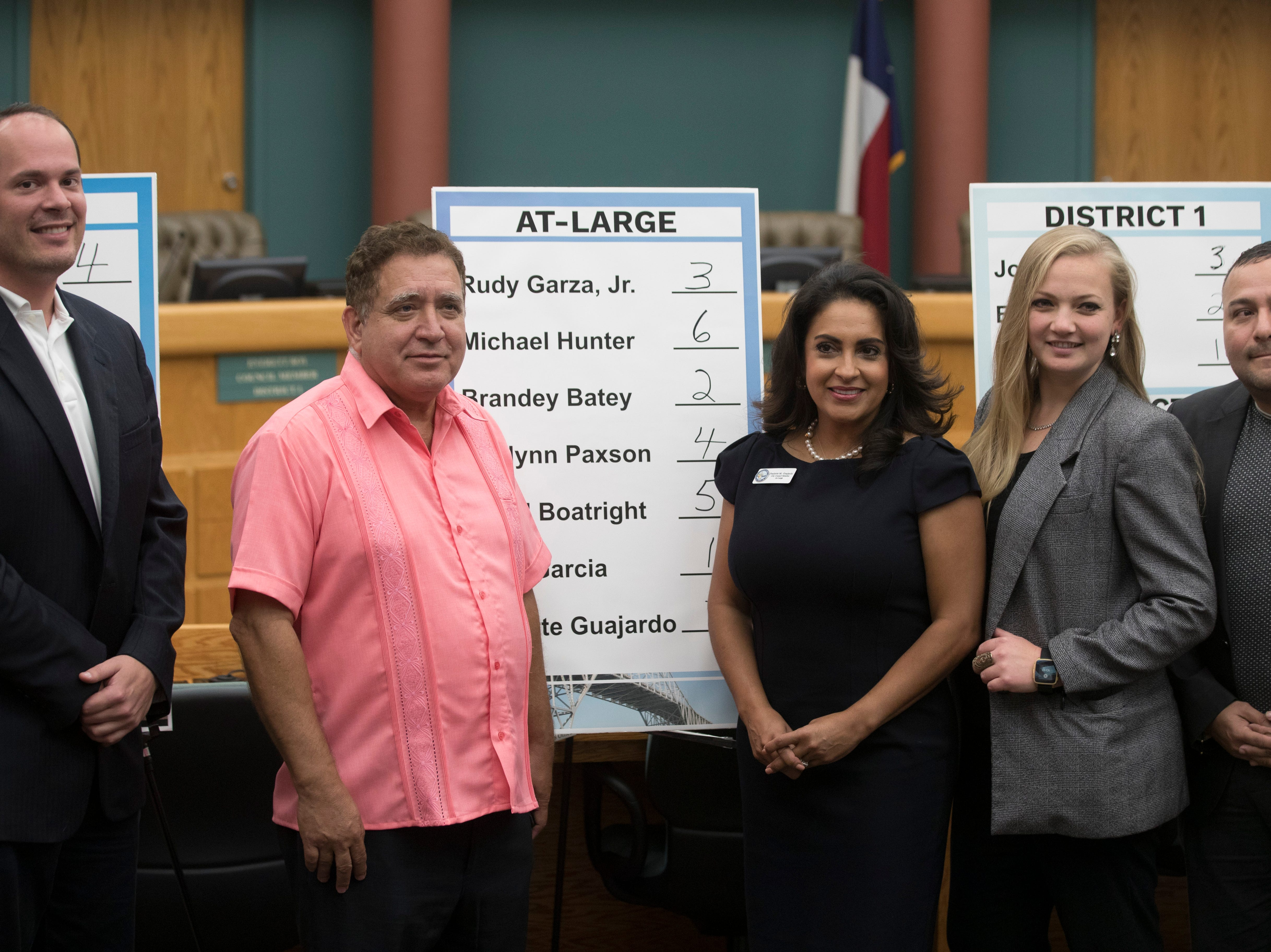 City Council at-large candidates Michael Hunter, Rudy Garza Jr., Paulette Guajardo , Kaylynn Paxson, and John Garcia pose for a photo after drawing for their ballot order on Thursday, August 23, 2018 at City Hall.