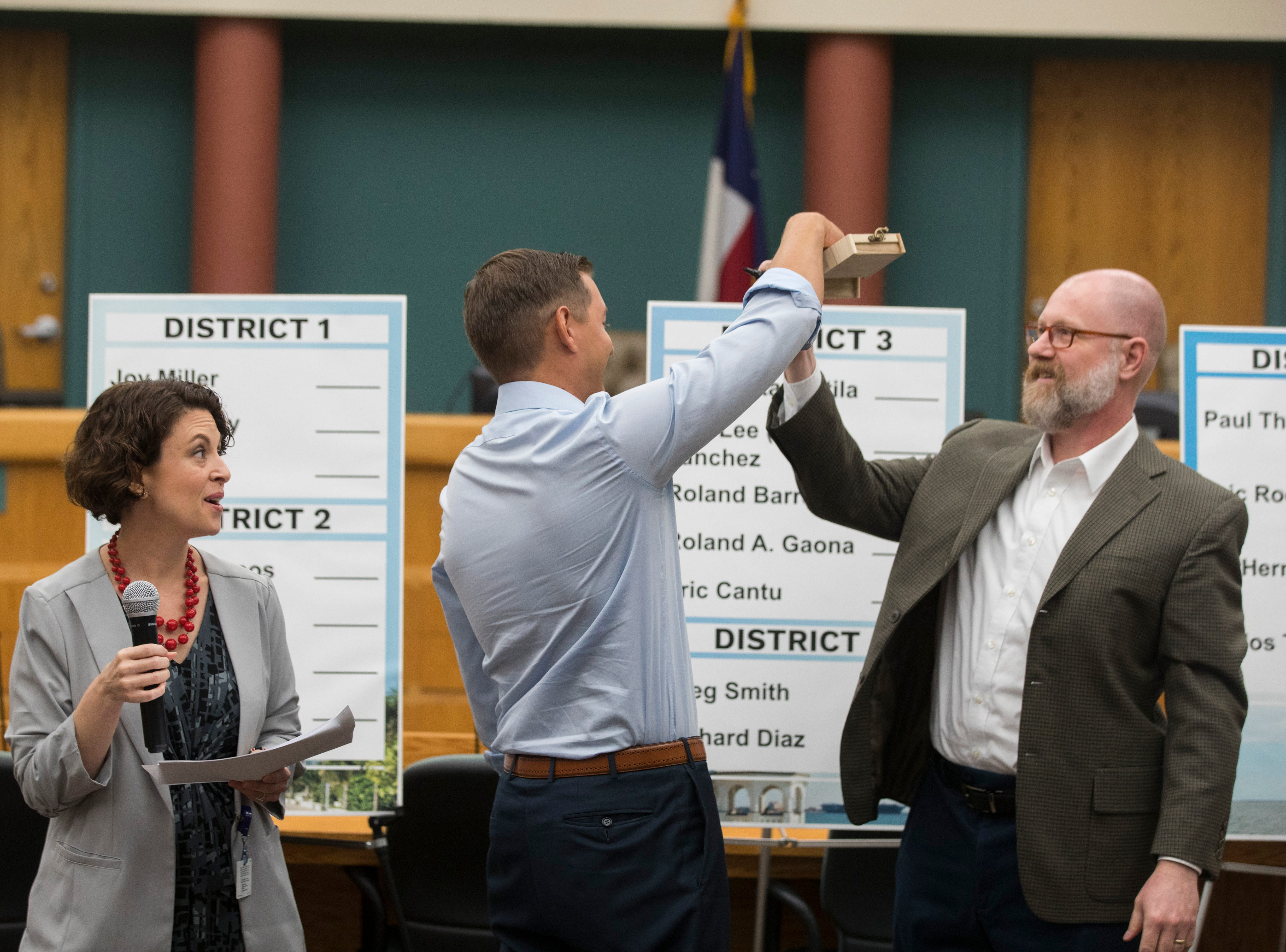 Mayor candidate Michael Hall draws the number one ballot spot on Thursday, August 23, 2018 at City Hall.