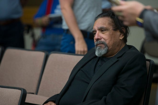 City Council candidate Roland A. Gaona watches as other candidates draw for their ballot order on Thursday, August 23, 2018 at City Hall.