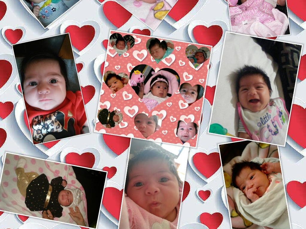 A collage of Kataleya Rose Garza throughout her first year.