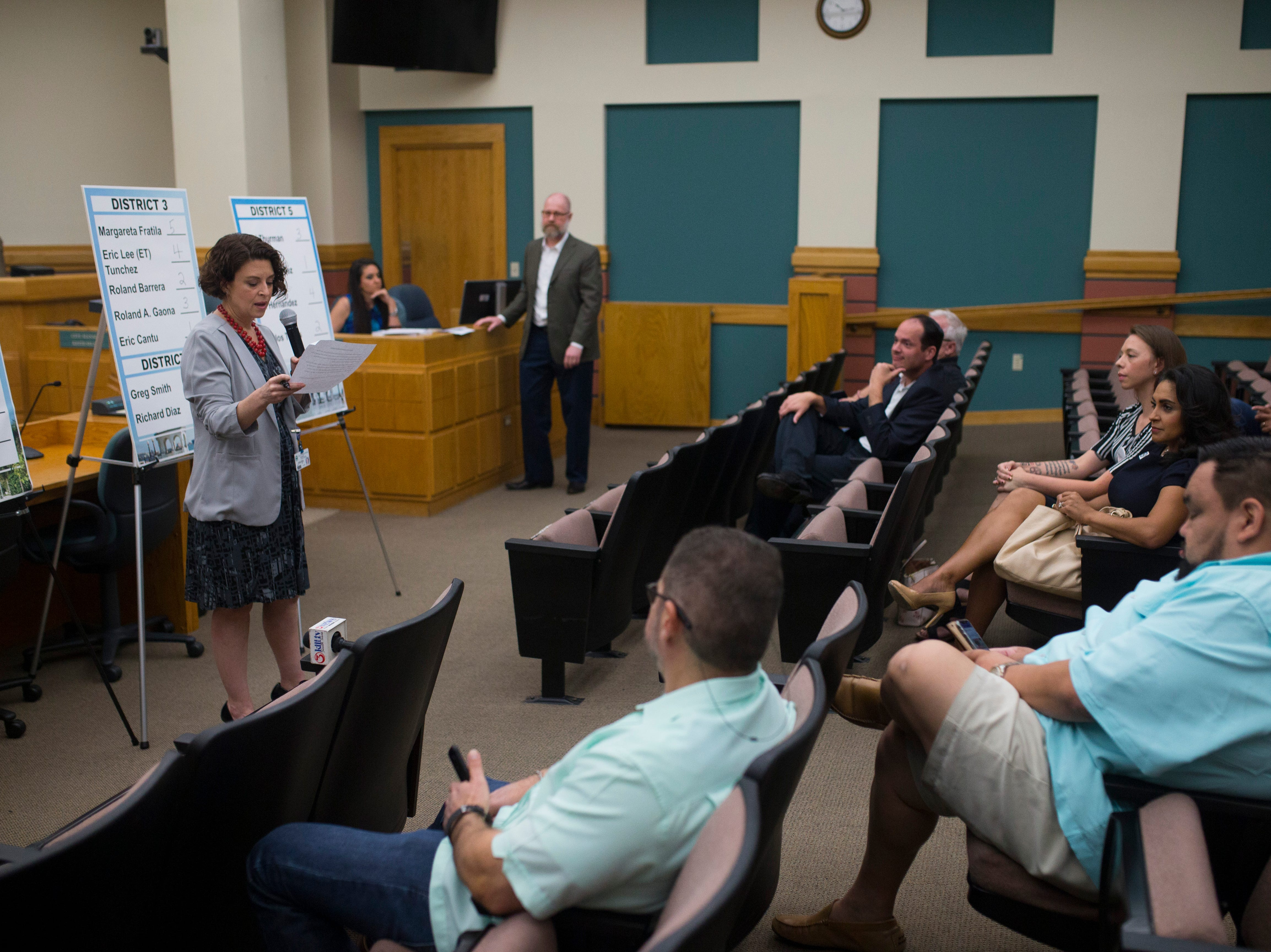 Mayor and City Hall candidates gather to draw for their ballot order on Thursday, August 23, 2018 at City Hall.