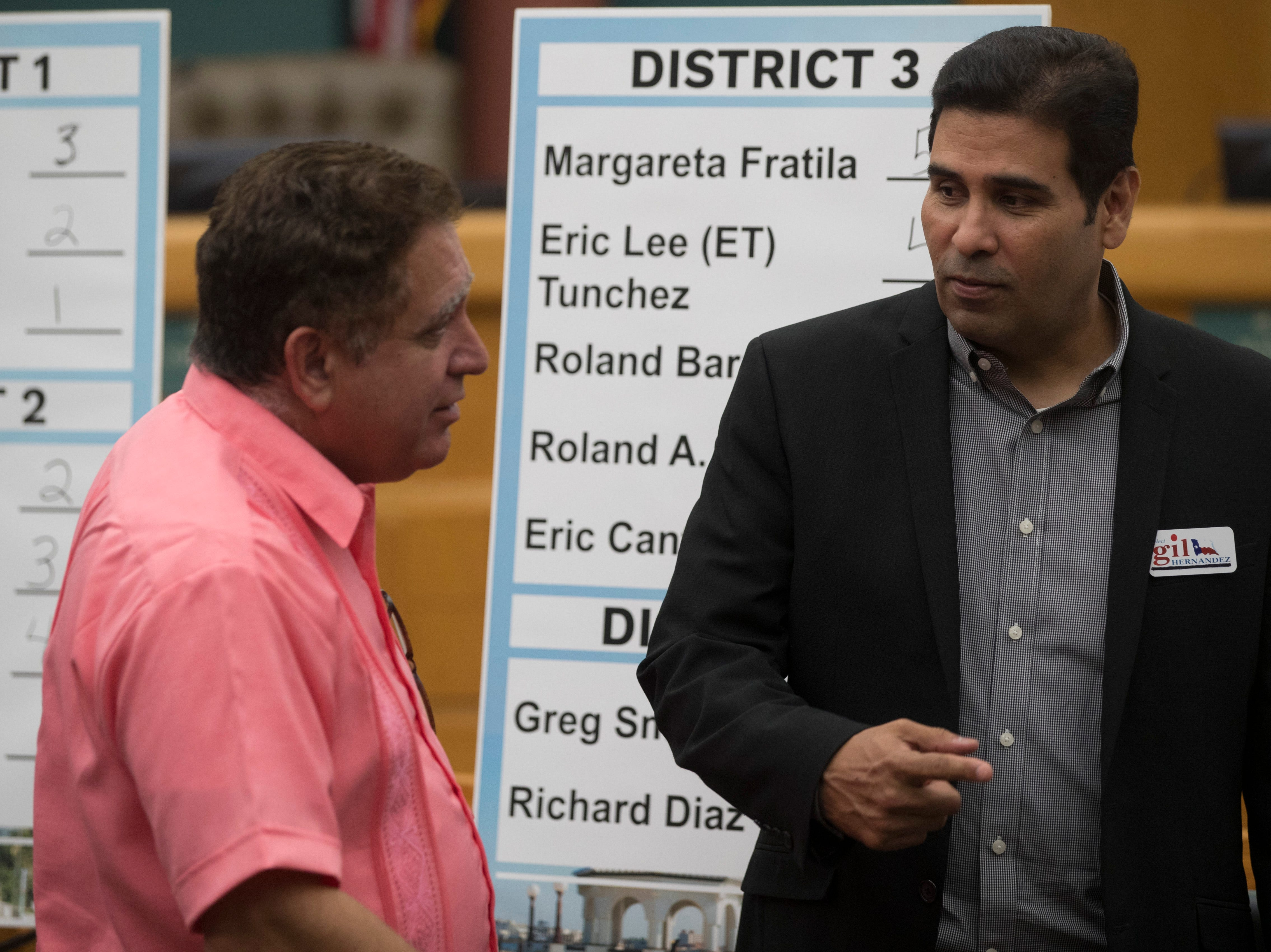 Candidates Gil Hernandez (right) and Rudy Garza talk after  drawing for their ballot order on Thursday, August 23, 2018 at City Hall.