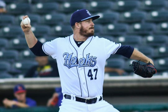 Houston Astros relief pitcher Chris Devenski is rehabbing with the Hooks as he comes back from a hamstring injury. Devenski pitched one inning on Wednesday, Aug. 22, giving up one run on two hits with three strikeouts.