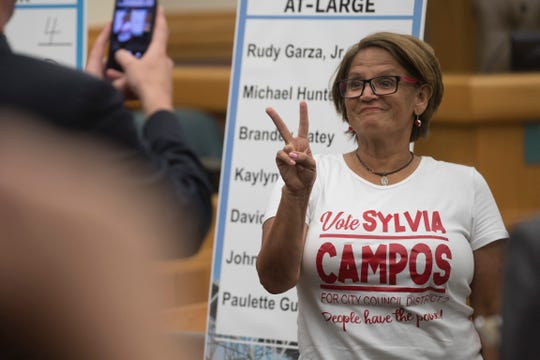 District 2 candidate Sylvia Campos poses for a photo after picking her ballot order on Thursday, August 23, 2018 at City Hall.