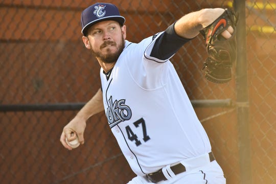 Houston Astros pitcher Chris Devenski threw an inning in a rehab start with the Hooks on Wednesday, Aug. 22 at Whataburger Field in Corpus Christi.