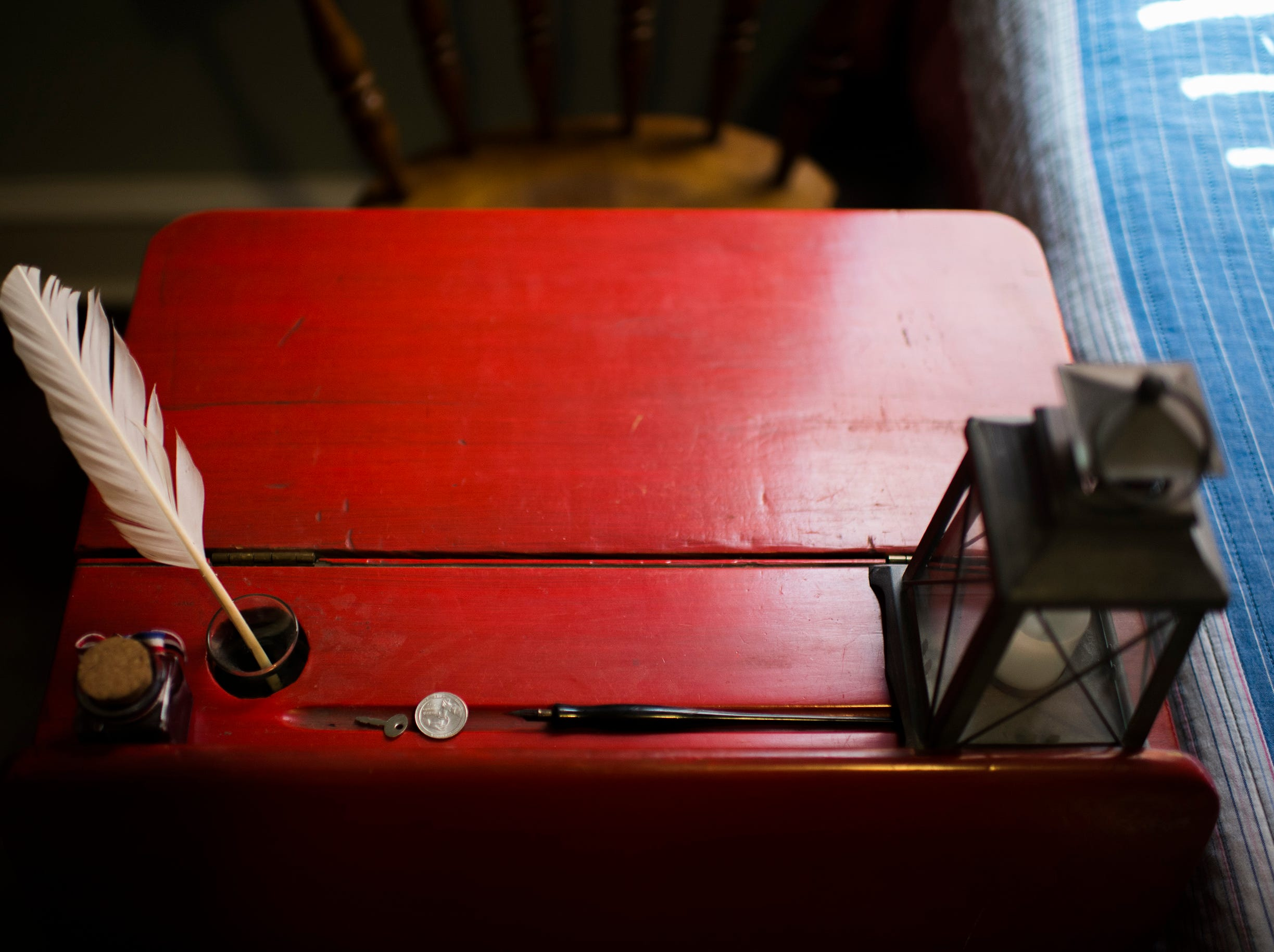 A colonial-era style desk inside the bedroom of nine-year-old history buff Joseph Gentile.