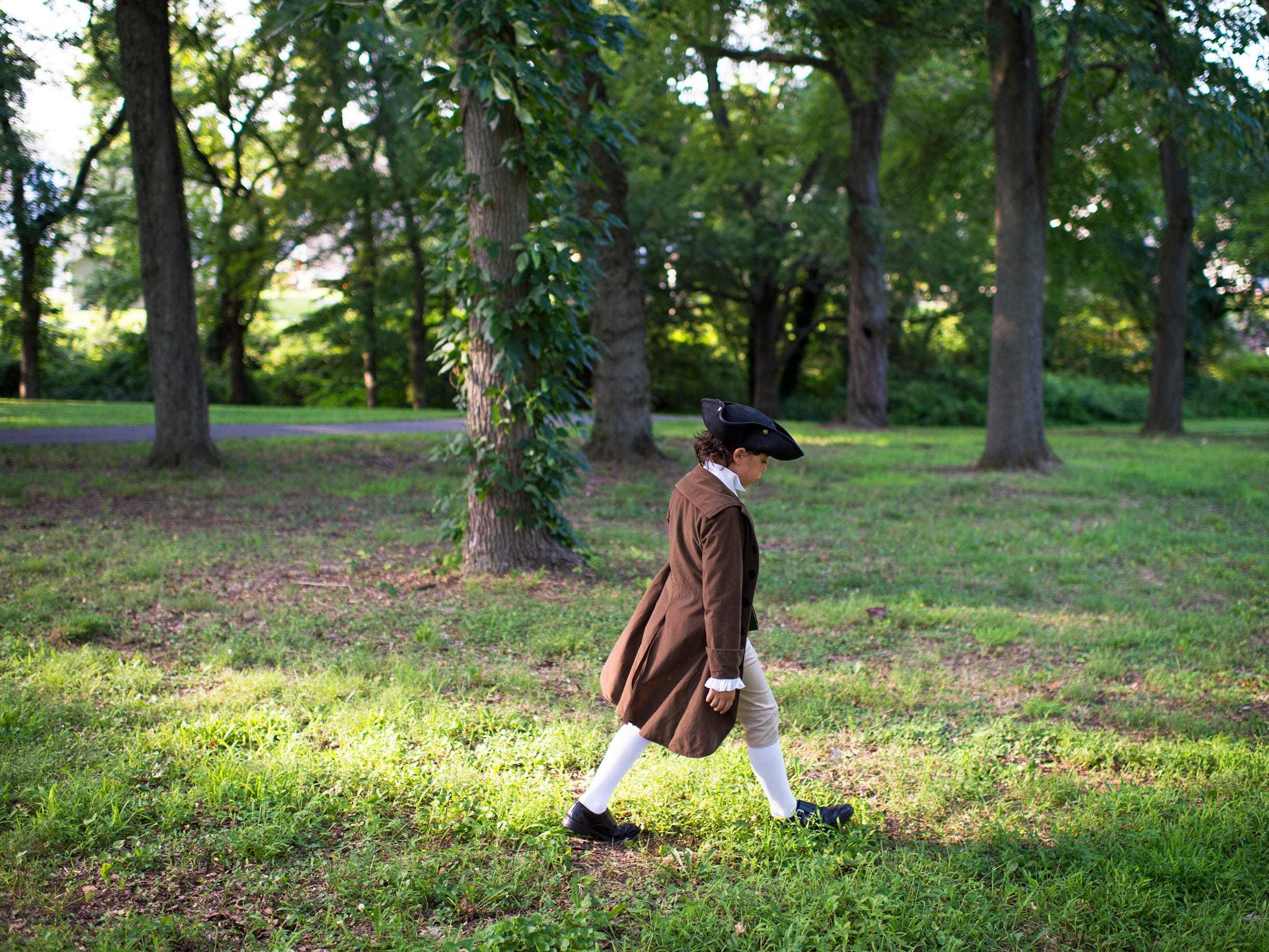 Joseph Gentile, 9, strolls Haddon Lake Park Thursday, Aug. 9, 2018 in Haddon Heights, N.J. The park was once home to a the old 'Hatcher House' which dates back to the 1700s.