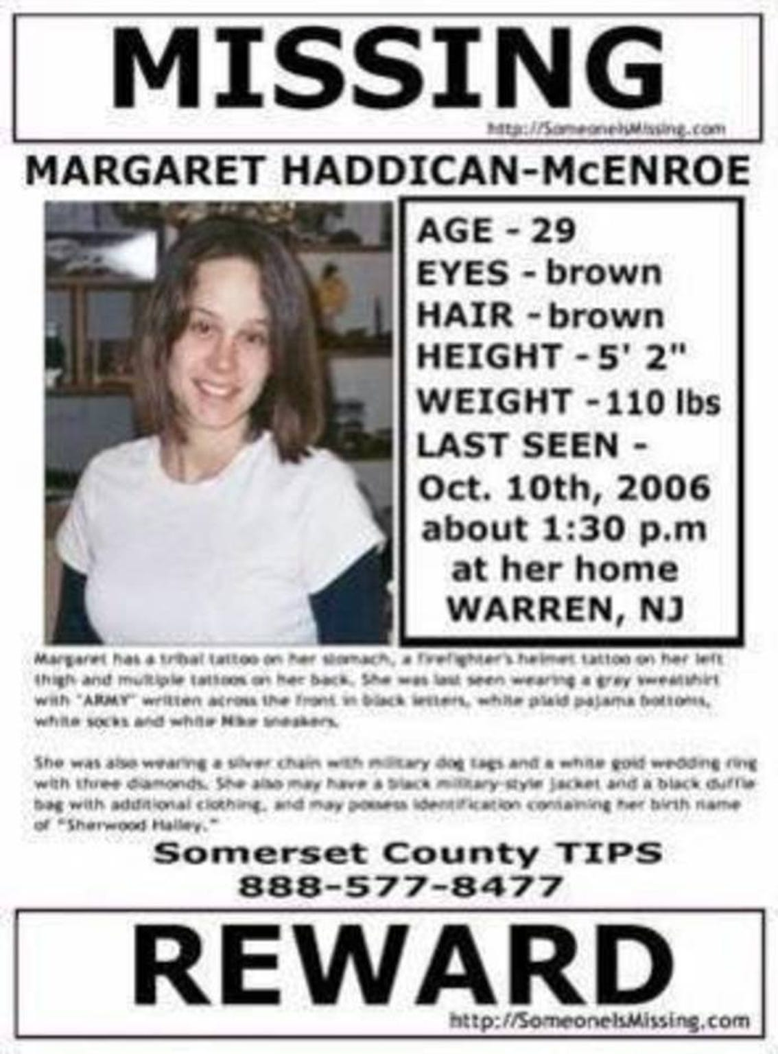 Margaret Haddican-McEnroe missing persons poster