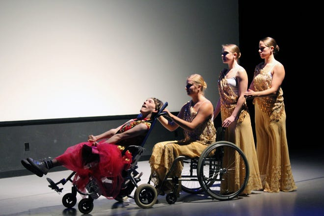 Dani Urso King, 28, is a Lakeview School graduate who will participate in Art Access 2018 at the Matheny Medical and Educational Center in Peapack-Gladstone. King, who was born with spastic quadriplegic cerebral palsy, King, cannot speak or walk, but she can paint, dance and choreograph. Here, King is accompanied by three professional dancers in her piece, 'Simply Wonderful Talented Dancers'.