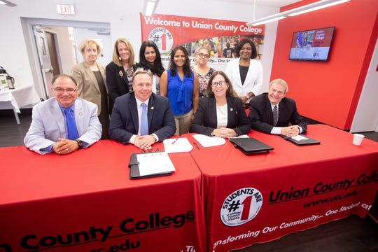 Back row: Union's Vice President of Academic Affairs Dr. Maris Lown, Warren's Vice President of Academics Dr. Marianne Van Deursen, Union's Physical Therapist Assistant Program Director and Academic Specialist Dr. Carmela Hanna, PTA student Soni Singh, Union's Physical Therapist Assistant Program Instructor Dr. Marie-Helene McAndrew, and Union's Dean of Plainfield Campus and Allied Sciences Dr. Victoria Ukachukwu. Front row: Warren's Board of Trustees Chairman Dr. Phil Linfante, Warren's President Dr. William Austin, Union's President Dr. Margaret M. McMenamin, and Union's Board of Trustees Chairman Victor M. Richel.