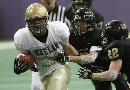 Former Sioux City Heelan great Brandon Wegher rushed for 3,238 yards and scored 54 touchdowns in a 14-0 season in 2008.