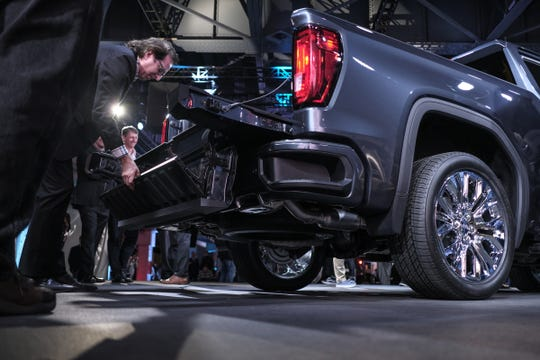 The MultiPro Tailgate for the 2019 GMC Sierra Denali pickup is seen during the unveiling of the truck at the Russell Industrial Center in Detroit on Thursday, March 1, 2018.