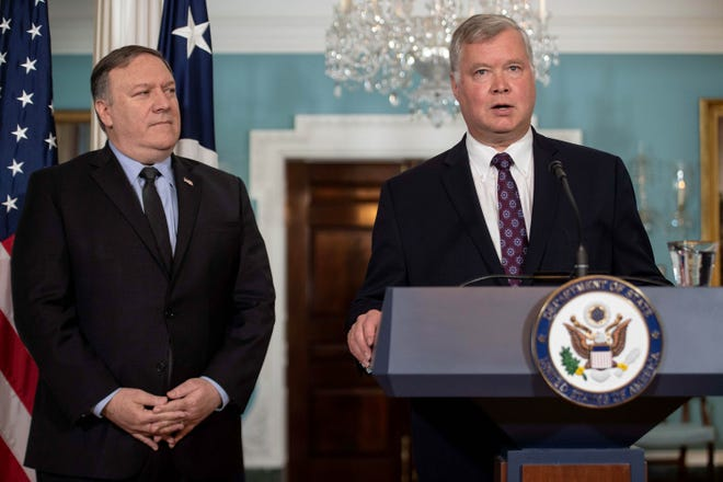 US special representative to North Korea Steve Biegun speaks after being named by Secretary of State Mike Pompeo, left, at the State Department in Washington, DC, on August 23, 2018.