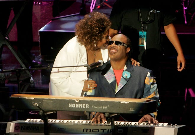 Singers Aretha Franklin and Stevie Wonder onstage at the 10th Annual Soul Train Lady of Soul Awards held at the Pasadena Civic Auditorium on September 7, 2005 in Pasadena, California.