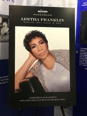 A poster honoring the late Aretha Franklin is displayed at the Motown Museum Wednesday, Aug. 22, 2018, in Detroit.