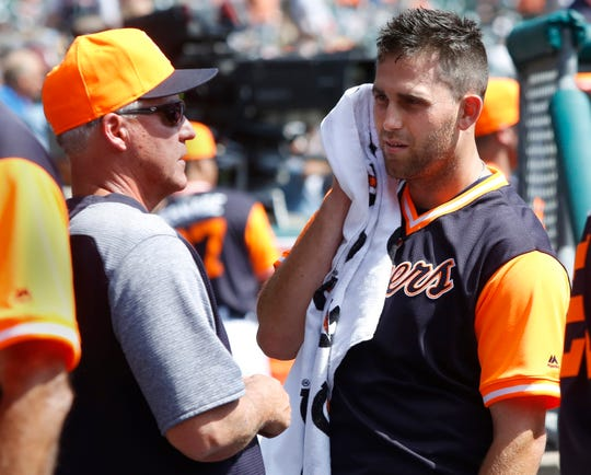 Tigers pitching coach Rick Anderson talks with starting pitcher Matthew Boyd during the sixth inning on Thursday, Aug. 23, 2018, at Comerica Park.