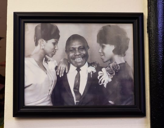 A photo of the Rev. C.L. Franklin and his two daughters, Aretha, left, and Carolyn, is on display inside the history room.