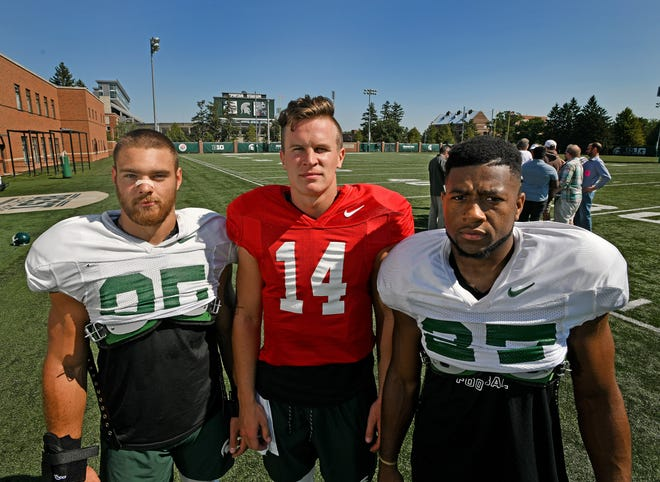Newly elected Michigan State football team captains are, from left:  linebacker Joe Bachie, quarterback Brian Lewerke and safety Khari Willis.