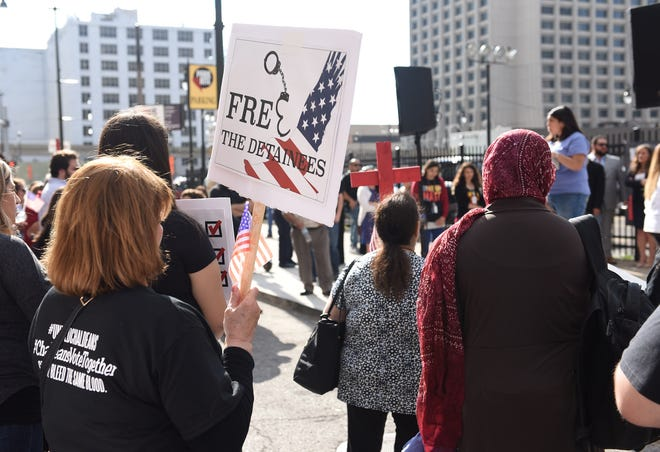 A  2017 rally was held in support of people, many of them Iraqi immigrants, who have been detained by Immigration and Customs Enforcement outside the U.S. District Federal Courthouse in Detroit