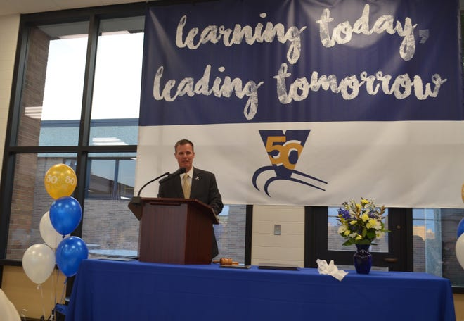 Greg Edinger, superintendent of Vanguard Sentinel Career and Technology Center, speaks at the school's 50th anniversary celebration.