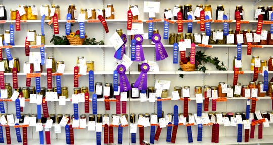 Winning entries sport prize ribbons at the 166th Annual Sandusky County Fair on Thursday,.