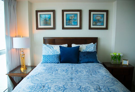 The bedroom in an apartment model at Campo Felice, an independent senior living community in downtown Fort Myers.
