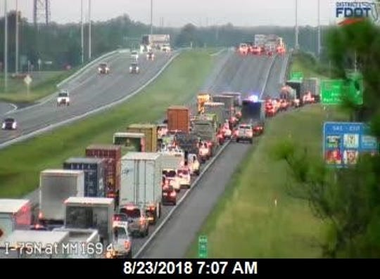 A crash on I-75 closed the northbound lanes at mile marker 170 in Charlotte County on Thursday, Aug. 23, 2018.