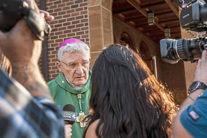 """Bishop David Zubik, current bishop of the Catholic Diocese of Pittsburgh, takes questions from reporters Aug. 18 after vocation Mass at Saints John and Paul Parish in Franklin Park, Pa. Zubik, the former bishop of the Catholic Diocese of Green Bay, pushed back against a call for his resignation and said the diocese has """"followed every single step"""" needed for responsible action after allegations of child sexual abuse."""