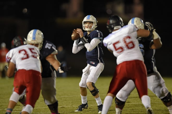 Southside Christian quarterback J.W. Hertzberg drops back in the pocket to deliver a pass. Southside Christian hosted Liberty in varsity football Friday, Oct. 27, 2017.