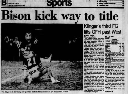 The last time Great Falls High won a state championship in football was in 1988