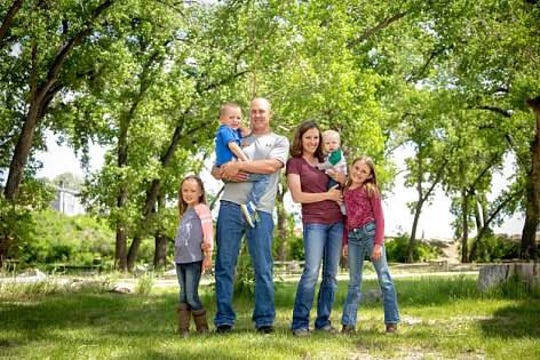 The family of Megan and Jeff Graham includes daughters Cadence, 9, and Ellison, 7, and sons Jace, 4, and Jimmer, 9 months.
