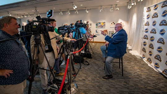 Henderson's Sam Ball addresses the media during the induction ceremonies for the Kentucky Athletic Hall of Fame Wednesday at the Muhammad Ali Center in Louisville.
