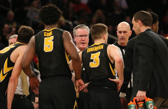 Mar 1, 2018; New York, NY, USA; Iowa Hawkeyes head coach Fran McCaffery talks to his team in the second half against the Michigan Wolverines in a second round game of the 2018 Big Ten Tournament at Madison Square Garden. Mandatory Credit: Nicole Sweet-USA TODAY Sports