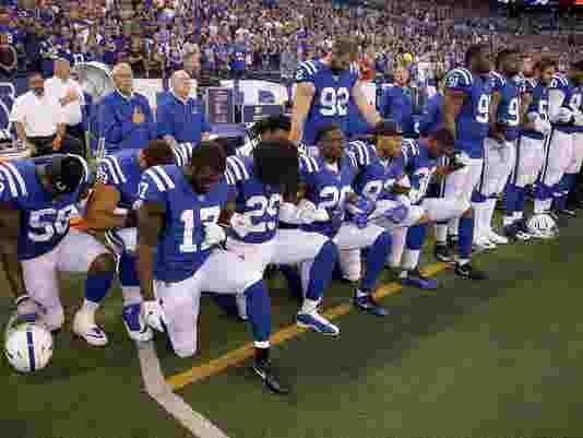 ae42449d2c5 NFL players kneeling in protest during the anthem has divided the nation.  What we know