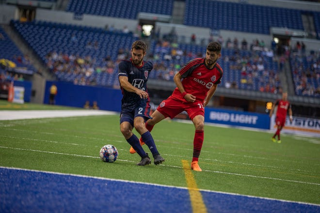 Dylan Mares of the Indy Eleven (2) works against Toronto, Aug. 22, 2018.