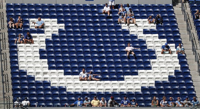 The Indianapolis Colts fans clears out early in the second second of their preseason NFL football game at Lucas Oil Stadium Sunday afternoon, August 13, 2017.