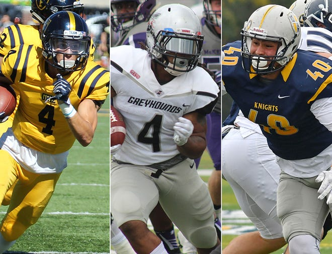 Left to right: Franklin College WR Brad Bonomini, UIndy RB Al McKeller and Marian DL Chad Scaggs.