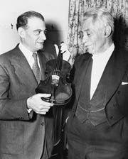 Violinist and composer Fritz Kreisler (right) turned over his famous Lord Amherst Stradivarius violin to Jacques Gordon, head of the Eastman School of Music in Rochester, N.Y. in 1946. Gordon owned the Martinelli Stradivarius a few decades before he acquired this one.