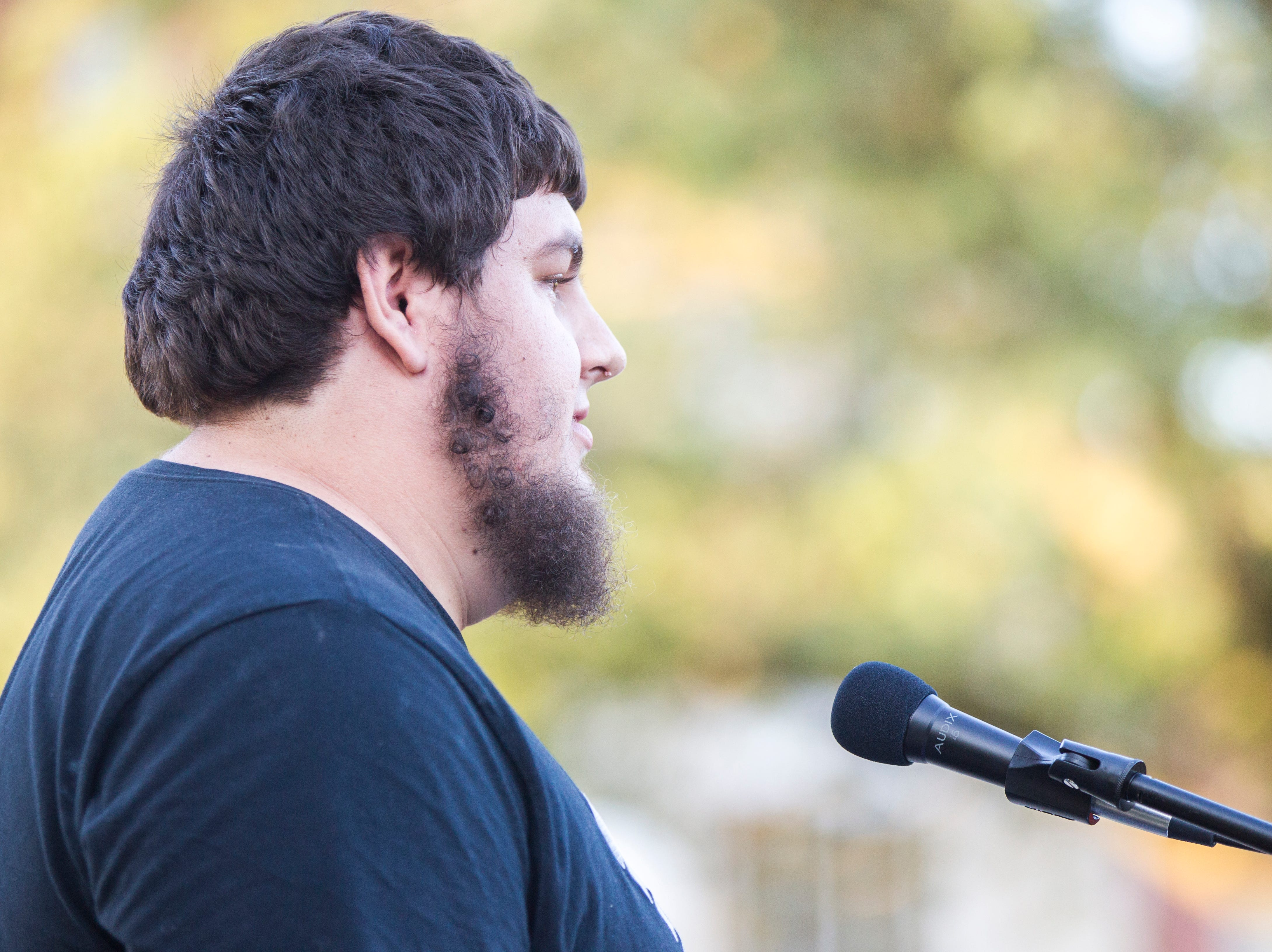 Jake Tibbetts, the brother of Mollie Tibbetts, speaks during a vigil for Mollie Tibbetts on Wednesday, Aug. 22, 2018, in Hubbard Park on the University of Iowa campus in Iowa City.