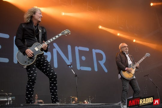 Bruce Watson and Mick Jones of Foreigner play guitars during a performance on their Europe 2016 tour.