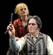"""Dale Dickey plays Mrs. Lovett and Jeff Austin is Sweeney Todd in the Clarence Brown-Knoxville Symphony Orchestra Aug. 30-Sept. 16 production of """"Sweeney Todd: The Demon Barber of Fleet Street."""""""