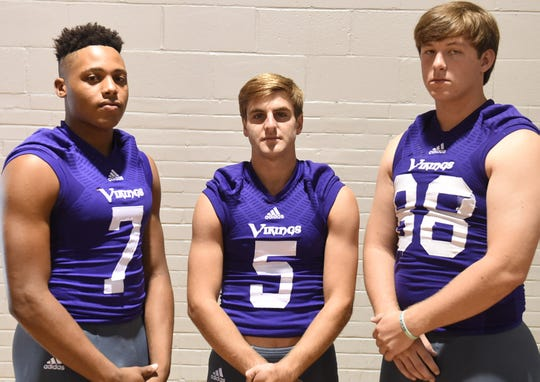 Opelousas Catholic's offensive starters include Devin Thierry (7), Zach Mengarelli (5) and Adam Purser (88).