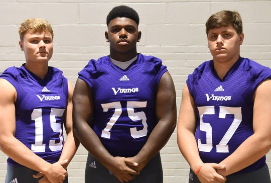Opelousas Catholic's defensive starters include Cameron Lee (15), James Monroe (75) and Remy Bergeron (57).