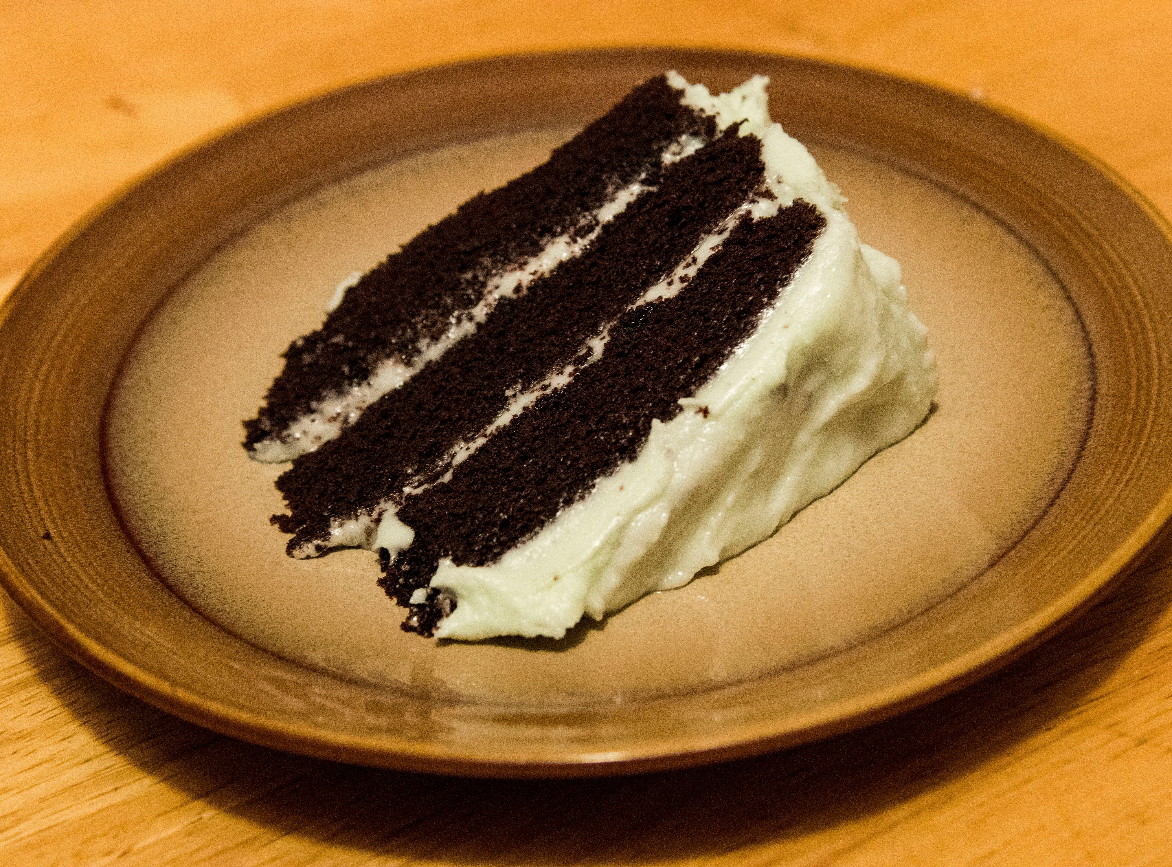 Gluten-free and lactose-free mint choco cake with vegan frosting.