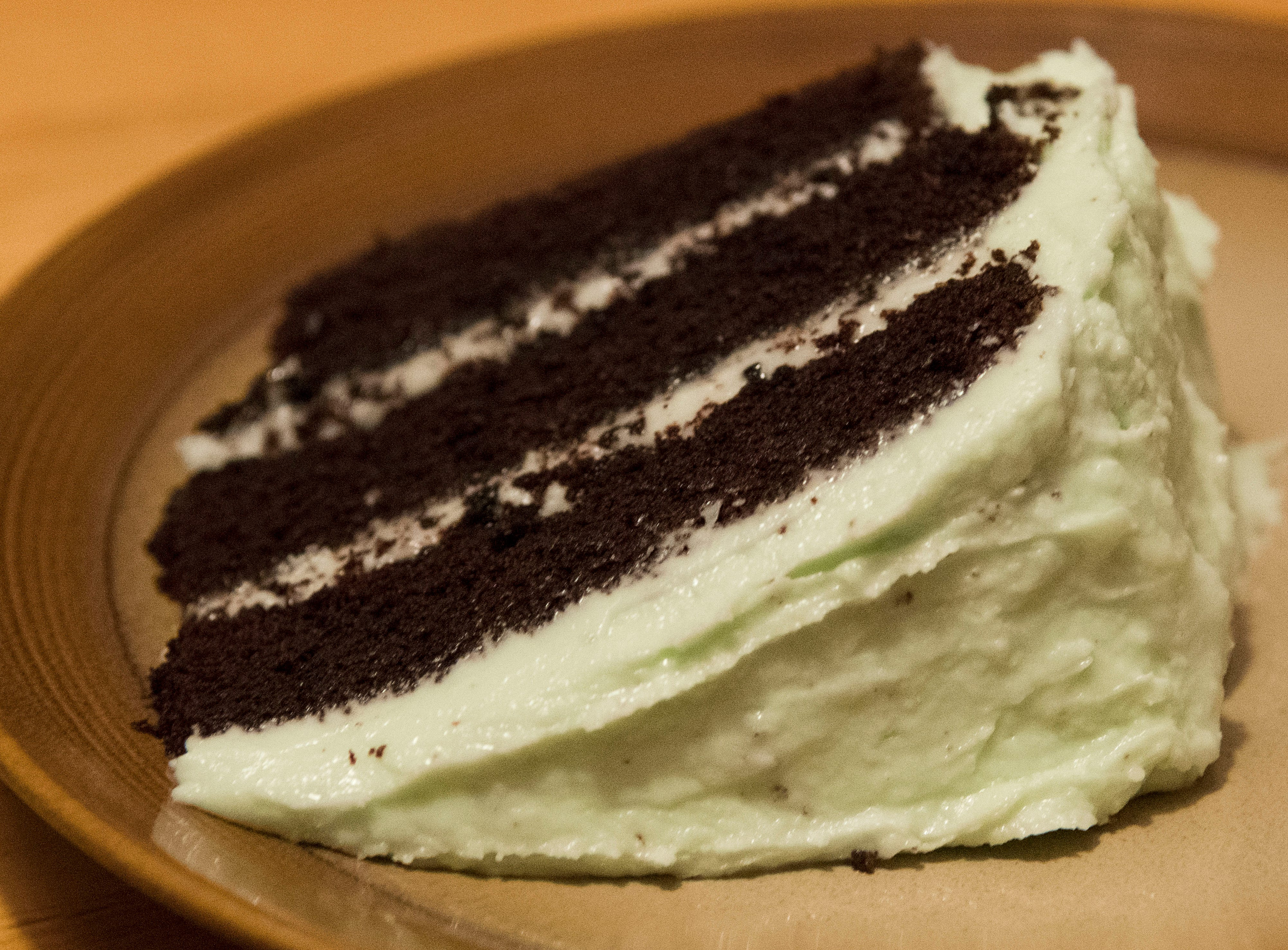 Gluten-free and lactose-free mint choco cake with non-vegan frosting.