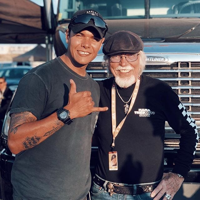 """Nothing like meeting a LEGEND Blessed to have met Willie G. Davidson in Sturgis, SD,"" Alejandro Garrido captioned this photo on social media."