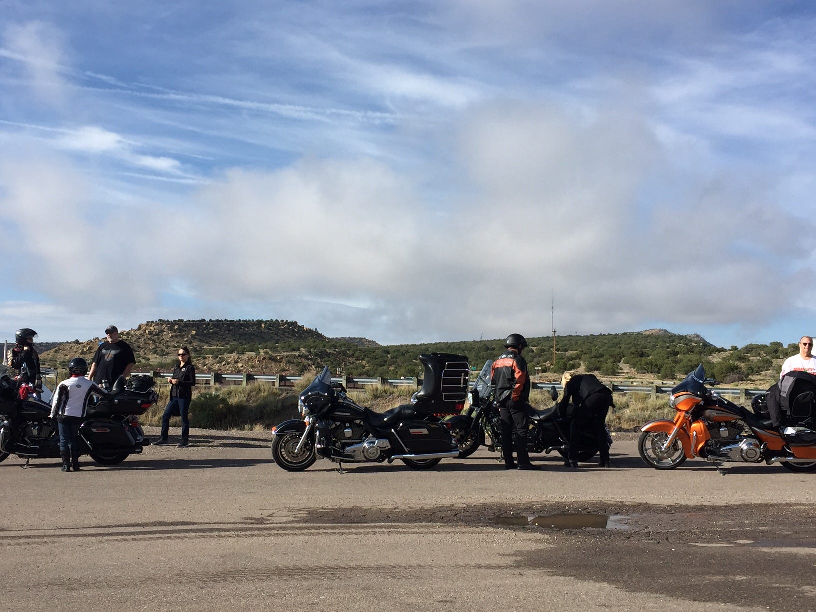 Riders on the Southwest trip from San Diego to Milwaukee stop for gas and take a break in Grants, New Mexico. The ride from Gallup, New Mexico, on I-40 was chilly and foggy with strong winds. They'll stop for lunch in Albuquerque.